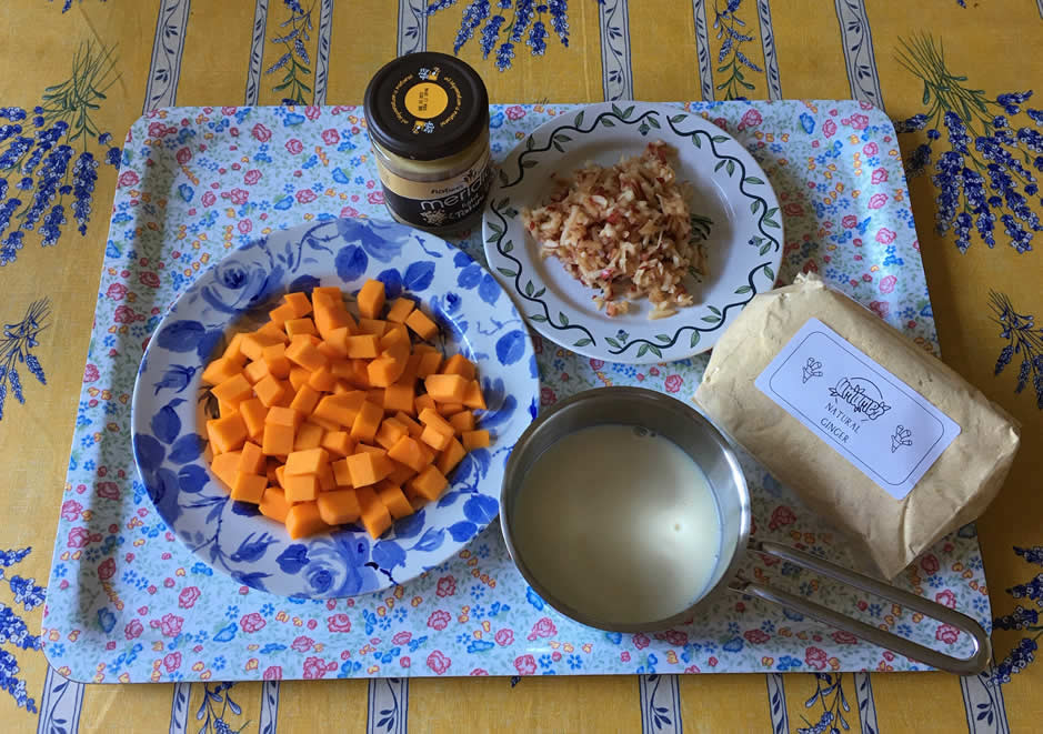 ingredients to make homemade butternut sausages
